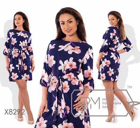 Стильное эластичное женское платье ткань трикотаж масло 48, 54 размер батал, фото 2