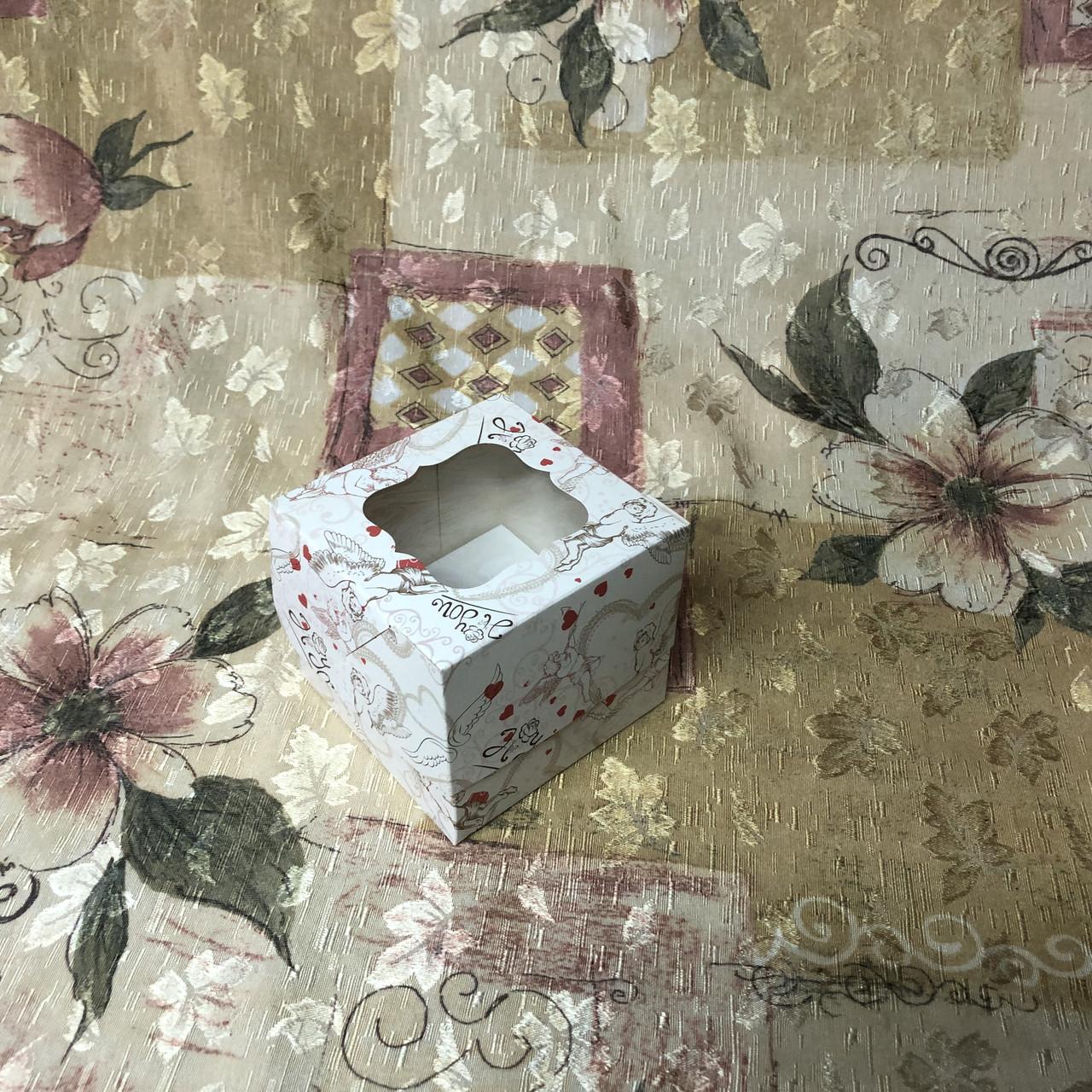 Коробка для 1-ого кекса / 100х100х90 мм / печать-Ангел / окно-обычн / лк