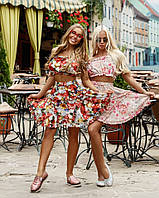 Костюм Doratti Cuba топ из шифона и юбка пышная с рюшами яркий цветочный принт Кdor1066, фото 1