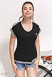 Летняя футболка с сеточкой на спине черная, фото 2