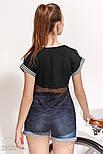 Летняя футболка с сеточкой на спине черная, фото 3