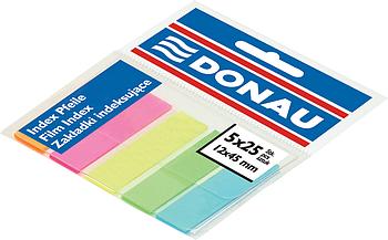 Стикеры-закладки DONAU неон, пластиковые с клейким слоем 45х12мм, 5 цветов по 25 лист.