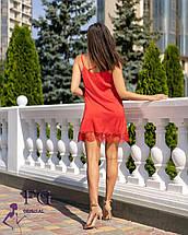 Летнее свободное платье на бретелях  с кружевом красное, фото 3