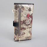 Кошелек женский кожаный Velina Fabbiano 1051-1032 разноцветный на кнопке из натуральной кожи с розами, фото 6