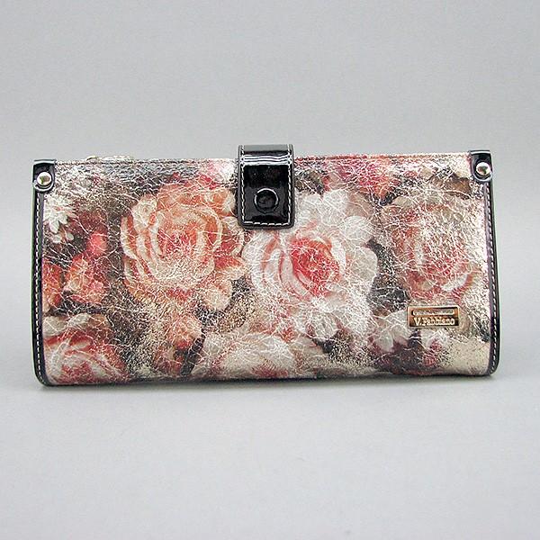 Кошелек женский кожаный Velina Fabbiano 1051-1032 разноцветный на кнопке из натуральной кожи с розами