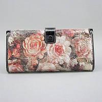 Кошелек женский кожаный Velina Fabbiano 1051-1032 разноцветный на кнопке из натуральной кожи с розами, фото 1