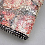 Кошелек женский кожаный Velina Fabbiano 1051-1032 разноцветный на кнопке из натуральной кожи с розами, фото 4