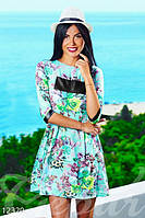 Летнее женское платье с цветочным принтом короткое со вставками из эко-кожи рукав ниже локтя штапель
