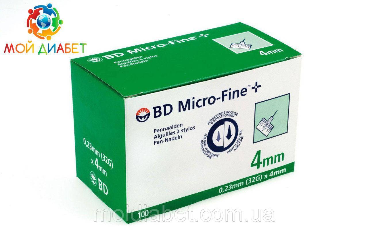 Голки для шприц-ручок BD Micro-Fine + «МикроФайн» 4 мм 100 шт. (5 упаковок)