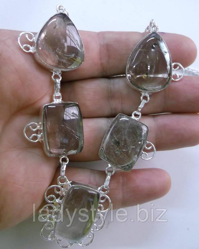украшение ожерелье колье бусы волосатик рутиловый кварц