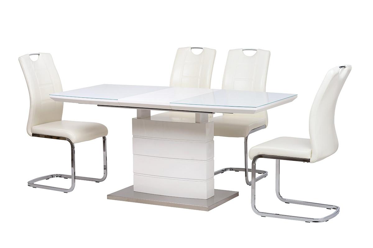 Стол МДФ+стекло TM-50-1 белый Ветро
