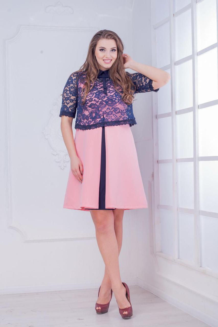 """Элегантное женское платье ткань """"Хлопок+Стрейч"""" с накидкой 48, 50, 52 , 54 размер батал 48"""