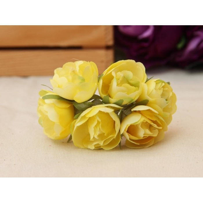 "Цветы "" Камелия ""  желтые     60 шт"