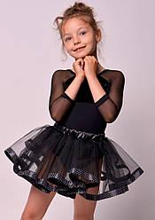 Юбка-пачка для танцев черная с лентой в горошек
