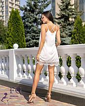 Летнее короткое платье в бельевом стиле низ кружево мятное, фото 3