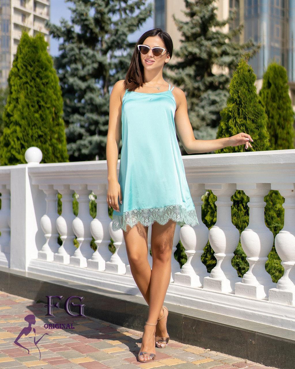 Летнее короткое платье в бельевом стиле низ кружево мятное