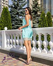Летнее короткое платье в бельевом стиле низ кружево мятное, фото 2