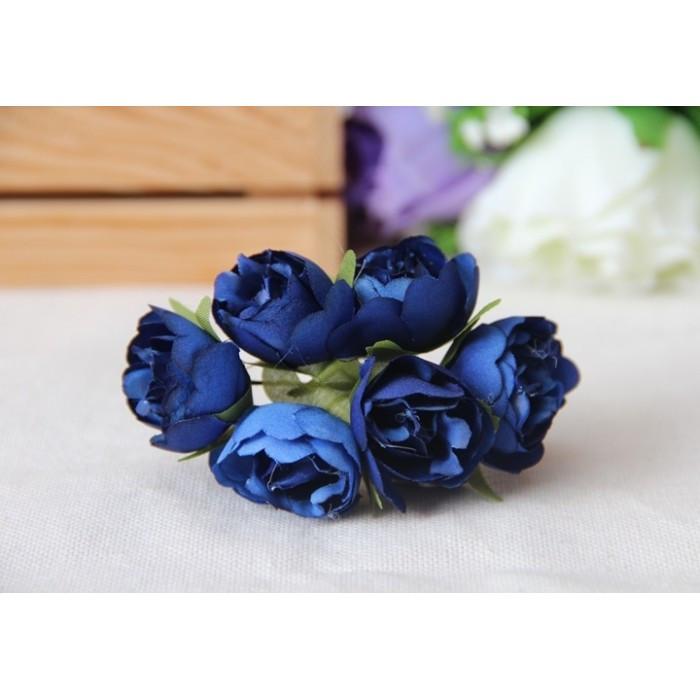 """Цветы """" Камелия """"  синие      60 шт"""
