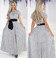 Летнее длинное платье в пол из шифона в горошек, фото 1