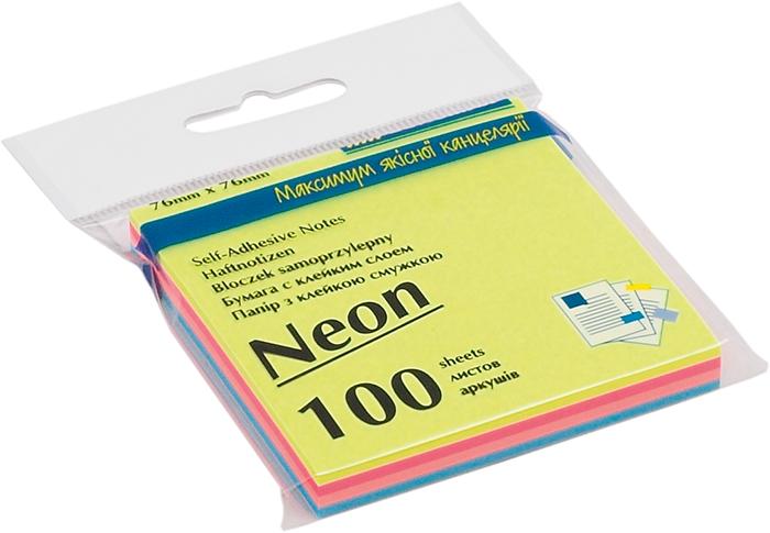 Блок бумаги для заметок Buromax Neon 76х76 мм, 4 цвета*25 шт, ассорти