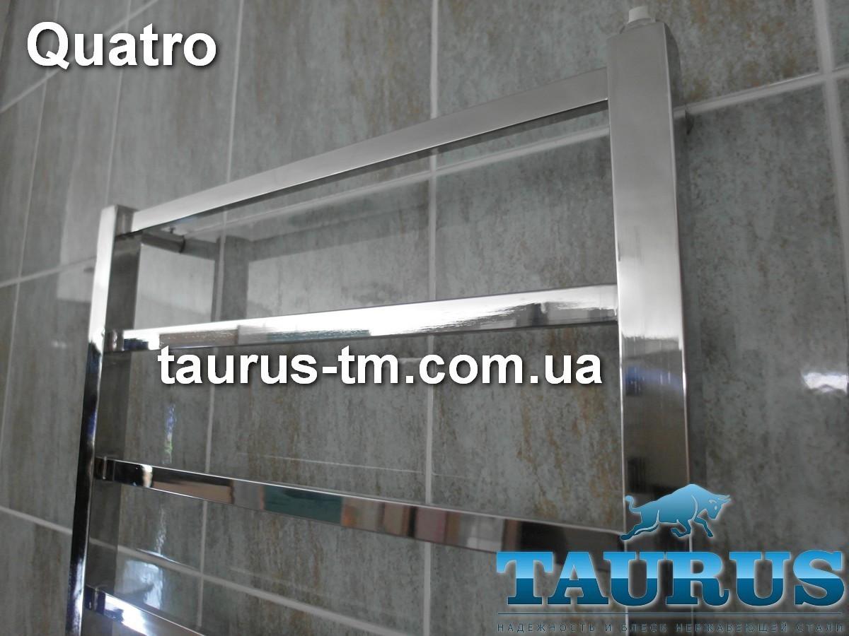 Очень высокий и узкий полотенцесушитель Quatro 15/1550х400. Вода, электро или двухконтурный. Плоский