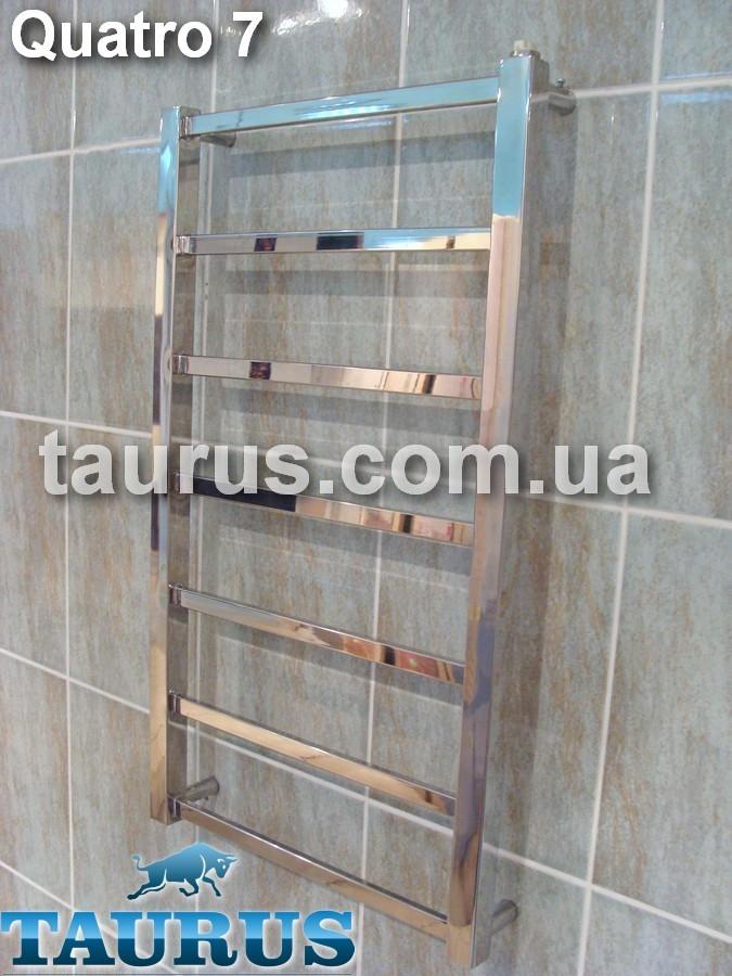 Узкий полотенцесушитель Quatro 7 /750х400. Полированная н/ж сталь, плоская прямоугольная труба 20х10