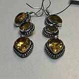 Цитрин красивые серьги с цитрином. Серьги цитрин в серебре Индия, фото 3