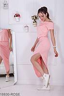 Асимметричное платье со спущенными рукавами и разрезом на ноге Melisa