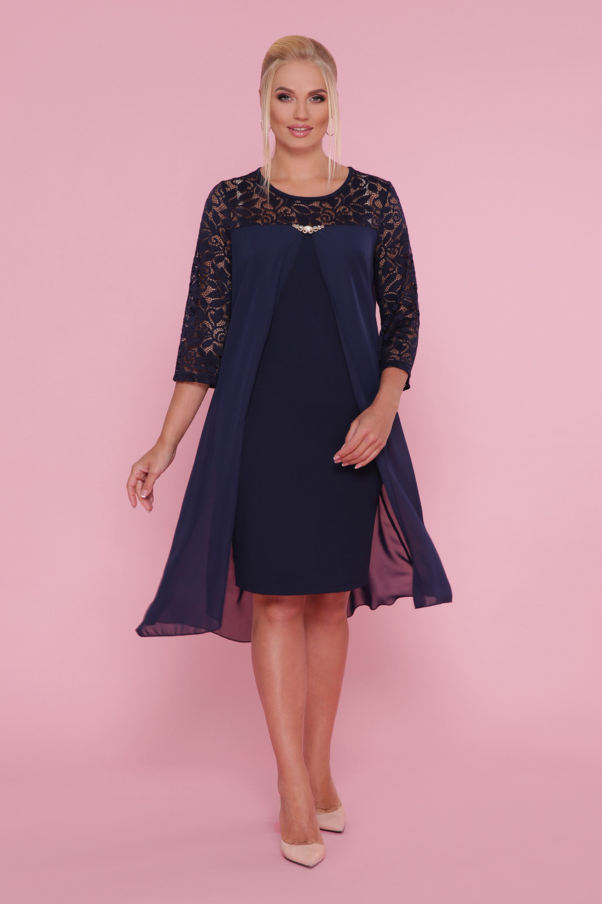 Нарядное синее платье женское большой размер
