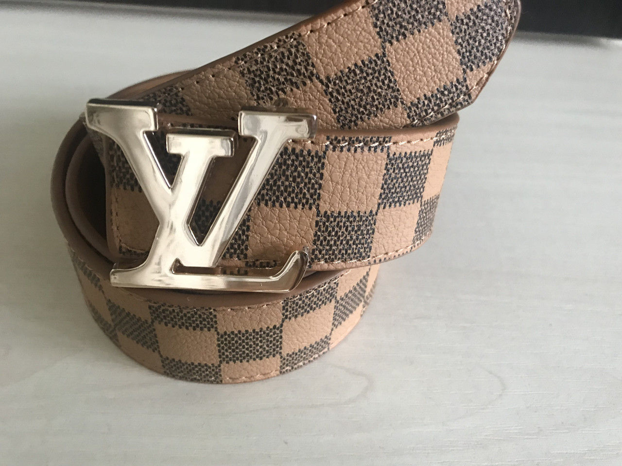 Ремень  пояс Louis Vuitton light brown (копия Луи Витон)