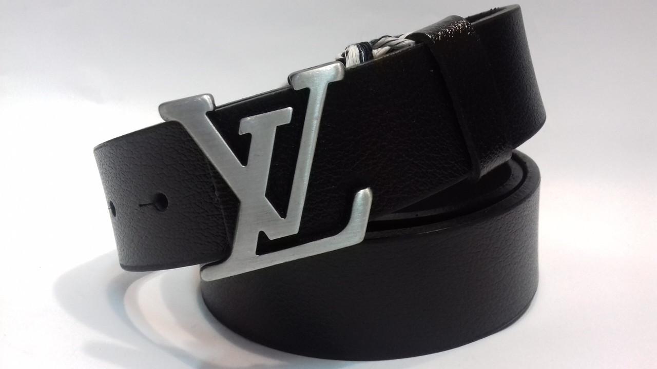 Кожаный Ремень  пояс мужской Louis Vuitton Silver (копия Луи Витон)