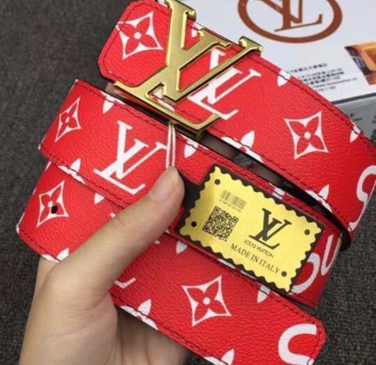 Ремень кожаный Louis Vuitton Supreme red gold (копия Луи Витон)