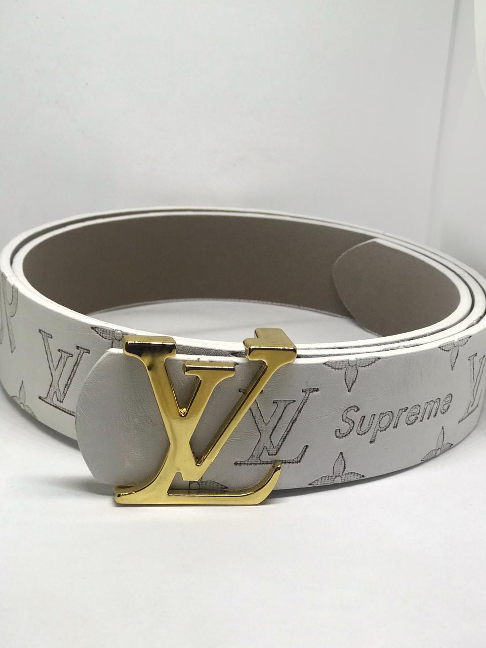 Белый Ремень  Louis Vuitton SUPREME  (копия Луи Витон)
