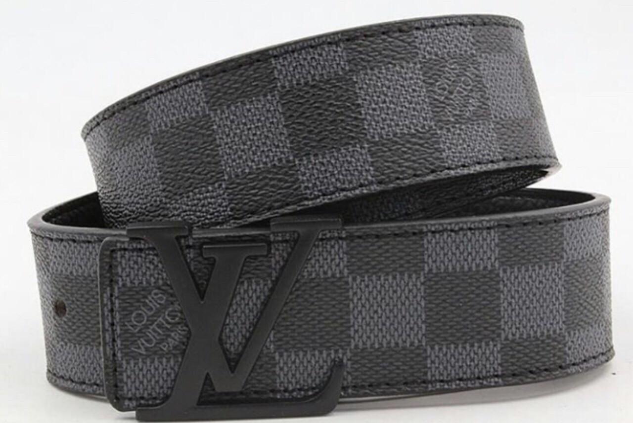 Ремень кожаный Louis Vuitton чёрный (копия Луи Витон)