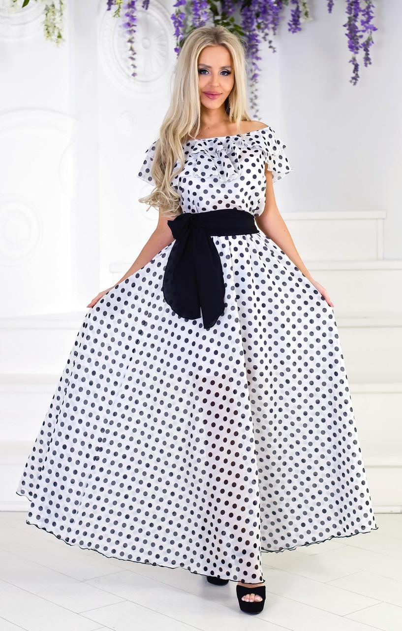 Нарядное летнее платье из шифона в горох, фото 1