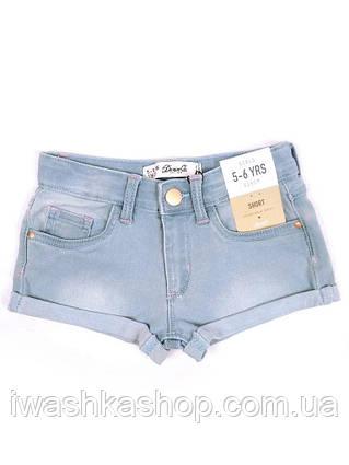 Голубые джинсовые шорты на девочек 4 - 5 лет, р. 110, Denim&Co by Primark