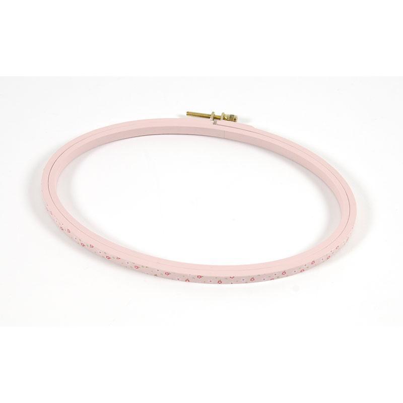 П'яльця овальні дерев'яні DMC MP002/210 (14 x 21 см), колір рожевий в квіточку
