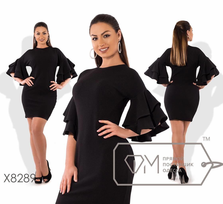 """Элегантное женское платье с воланами ткань """"трикотаж кукуруза"""" черный 50 размер батал"""
