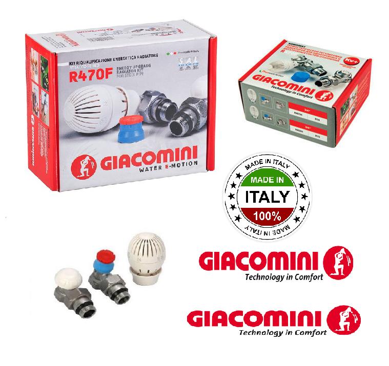Комплект радиаторный термостатический Giacomini 1\2 прямой. Термоголовка + краны верх-низ !!!  R470F