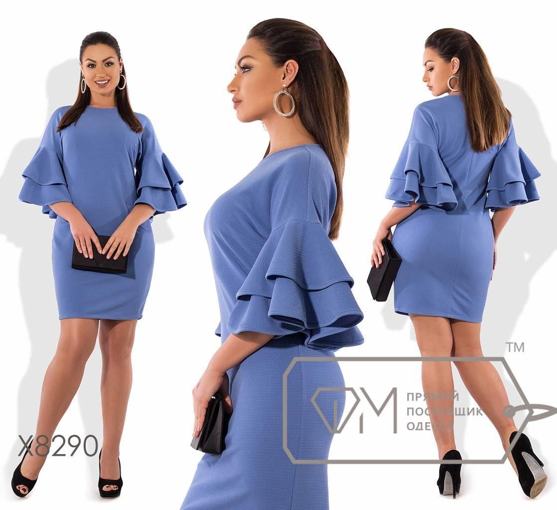 """Элегантное женское платье с воланами ткань """"трикотаж кукуруза"""" Лазурно- синий 52, 54 размер батал"""