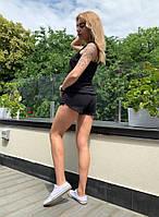 Женский летний спортивный костюм майка + шорты 128 (42/44, 44/46) (цвет черный) СП