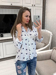 Женская легкая рубашка удлиненная сзади, в расцветках. В-5-0719
