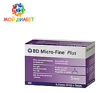 Иглы для шприц-ручек BD Micro-Fine + «МикроФайн» 5 мм 100 шт. (5 упаковки)