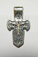 Крест серебряный с распятием мечевидный. Андреев крест.