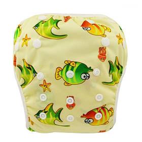"""Подгузник трусики многоразовый детский для плаванья, бассейна, моря """"Рыбки"""""""