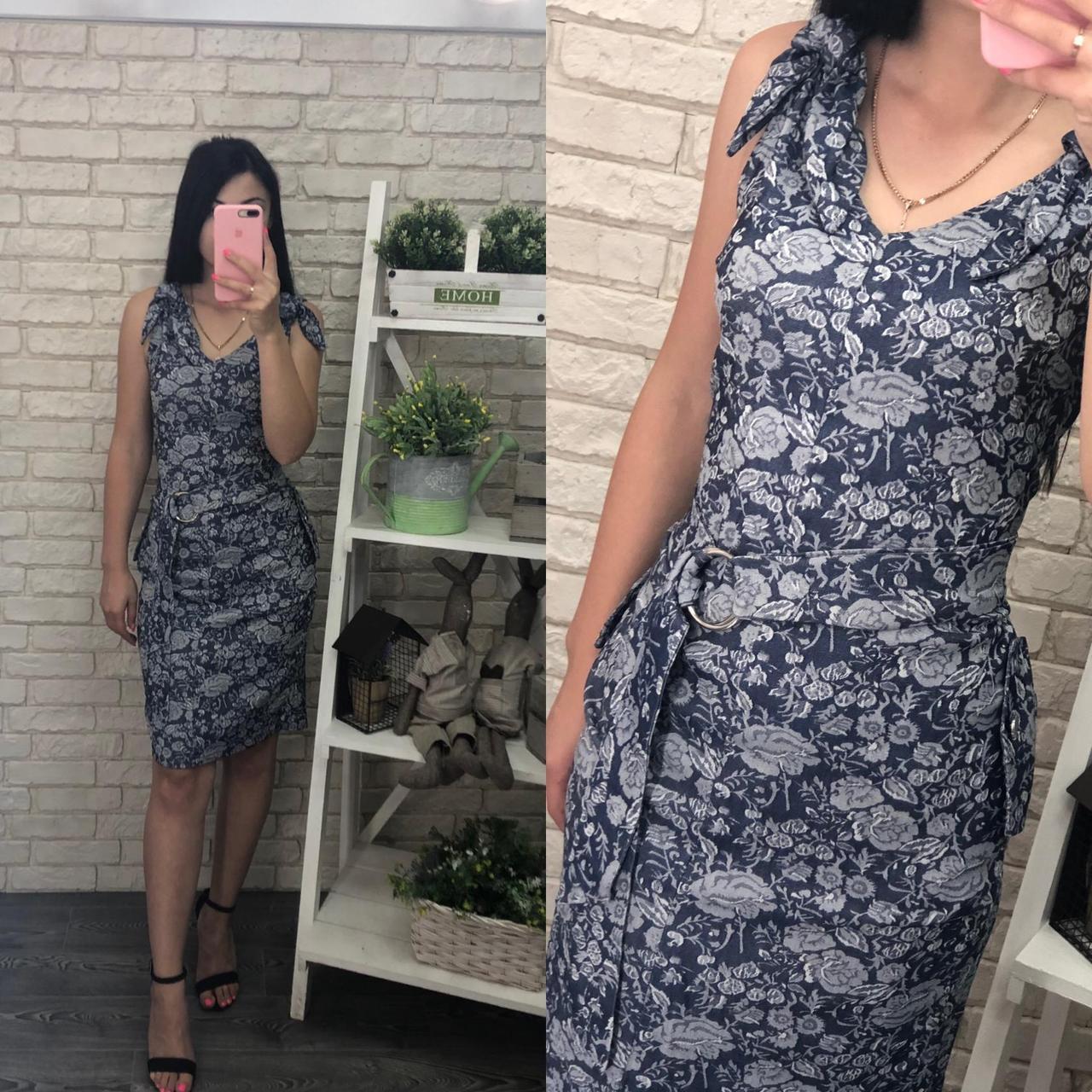 """Красивое женское платье, ткань """"Стрейч-коттон"""" с V-образным вырезом 50, 52, 54 размер батал"""