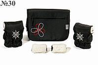 """Комплект сумка и муфты для коляски Ok Style """"Цветок"""" Черная Цветок бело-красный"""