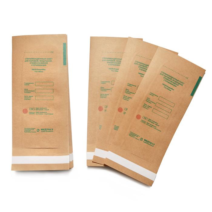 Крафт пакет для стерилизации инструментов (100х200 мм.) 100 штук