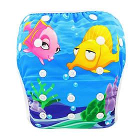 """Подгузник трусики многоразовый детский для плаванья, бассейна, моря """"Подводный мир"""""""