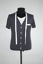 Модная мужская футболка с приолькным галстучком